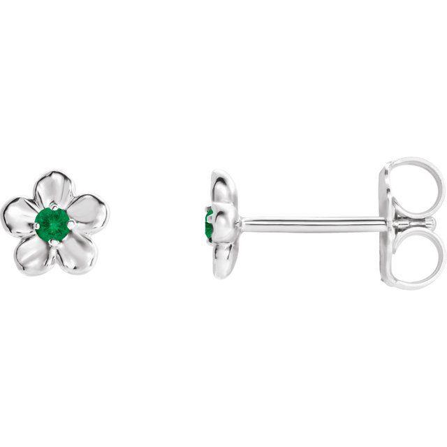 Platinum Youth Imitation May Birthstone Flower Earrings