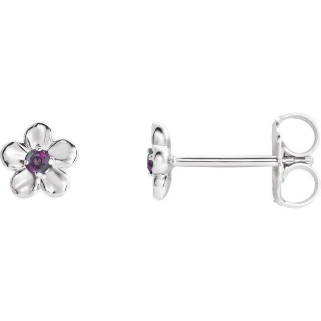 14K White Youth Imitation June Birthstone Flower Earrings