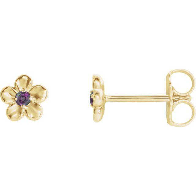 14K Yellow Youth Imitation June Birthstone Flower Earrings