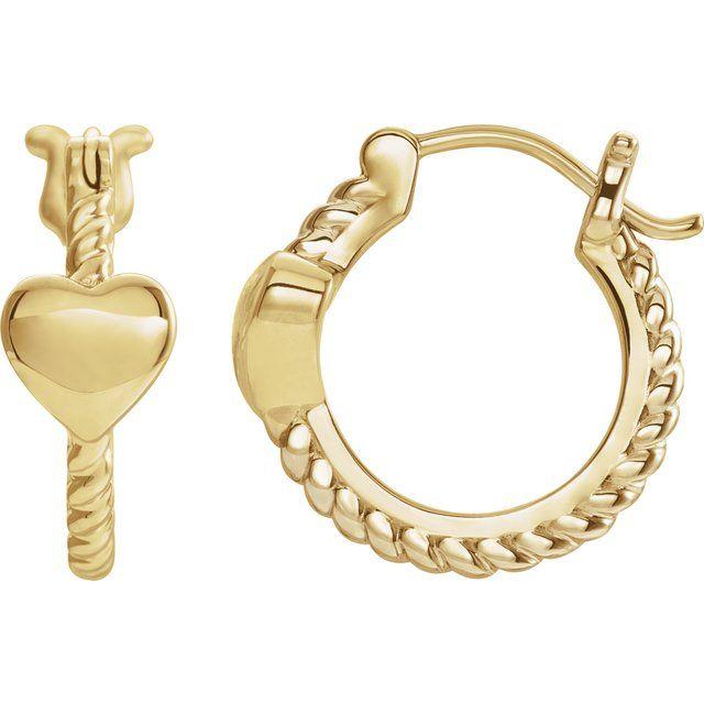 14K Yellow 14 mm Heart Rope Hoop Earrings