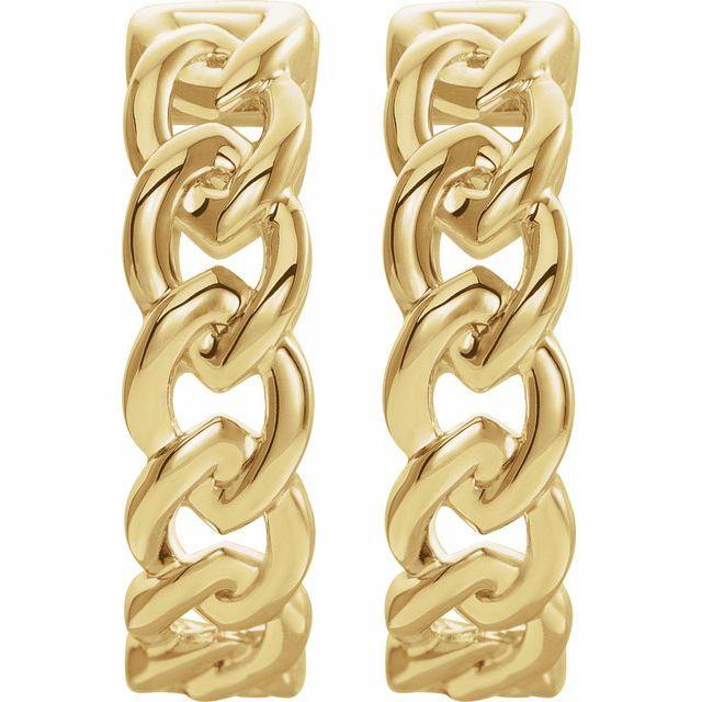 14K Yellow 19.6 mm Chain Link Hoop Earrings