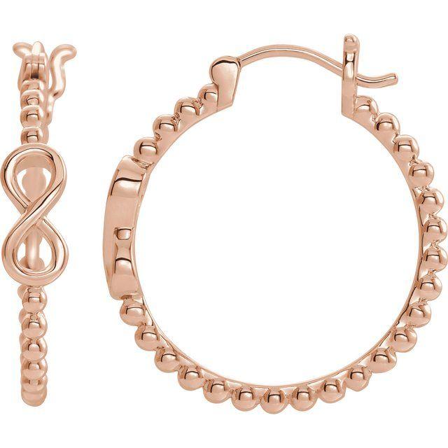 14K Rose 22.3 mm Infinity-Inspired Beaded Hoop Earrings