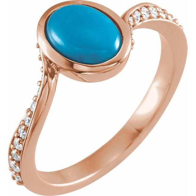 14K Rose Turquoise & 1/5 CTW Diamond Ring