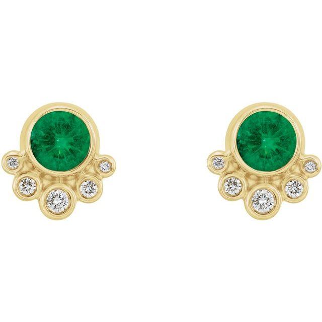 14K Yellow Emerald & 1/8 CTW Diamond Earrings