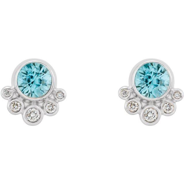 14K White Zircon & 1/8 CTW Diamond Earrings