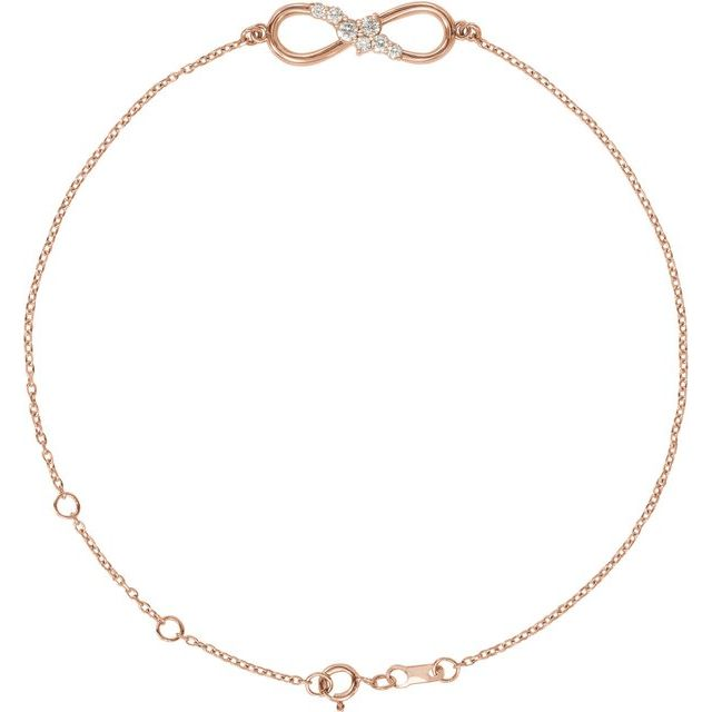 "14K Rose 1/8 CTW Diamond Infinity 6 1/2-7 1/2"" Bracelet"