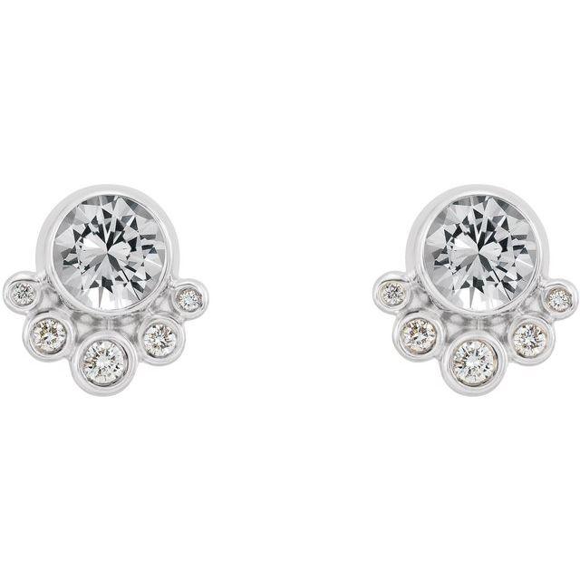 14K White Sapphire & 1/8 CTW Diamond Earrings