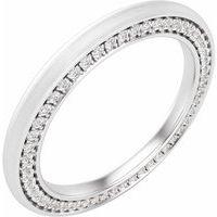 14K White 2 mm 1/2 CTW Diamond Band with Satin Finish Size 7