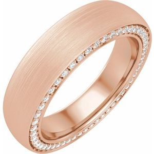 14K Rose 5 mm 3/4 CTW Diamond Band with Satin Finish Size 10
