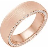 14K Rose 6 mm 5/8 CTW Diamond Band with Satin Finish Size 8.5