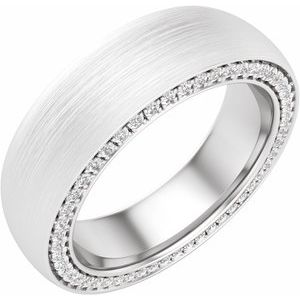 14K White 6 mm 3/4 CTW Diamond Band with Satin Finish Size 10