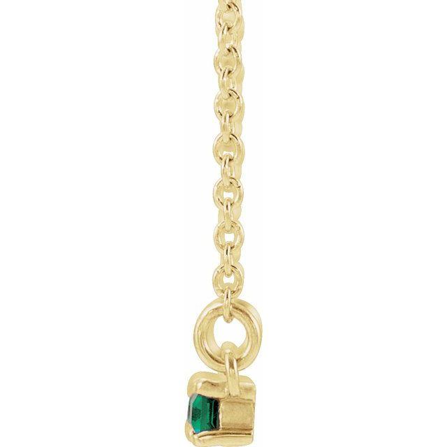 14K Yellow Emerald & 1/5 CTW Diamond Bar 16-18