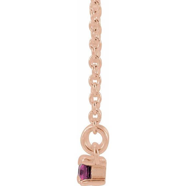14K Rose Pink Tourmaline & 1/5 CTW Diamond Bar 16-18
