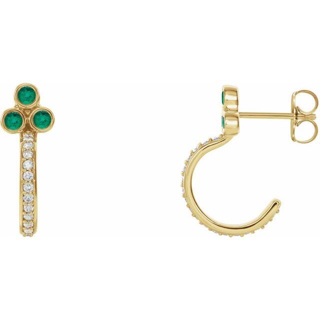 14K Yellow Emerald & 1/4 CTW Diamond J-Hoop Earrings