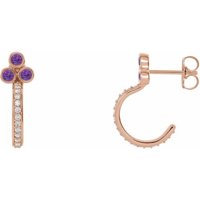 14K Rose Amethyst & 1/4 CTW Diamond Hoop Earrings