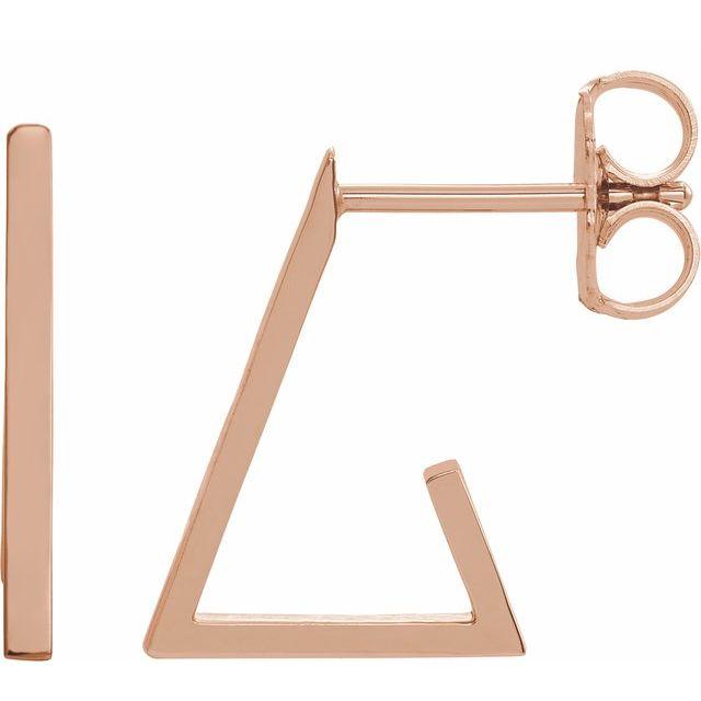 14K Rose Triangle Hoop Earrings