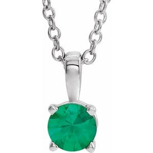 """14K White 4 mm Round Emerald Birthstone 16-18"""" Necklace"""