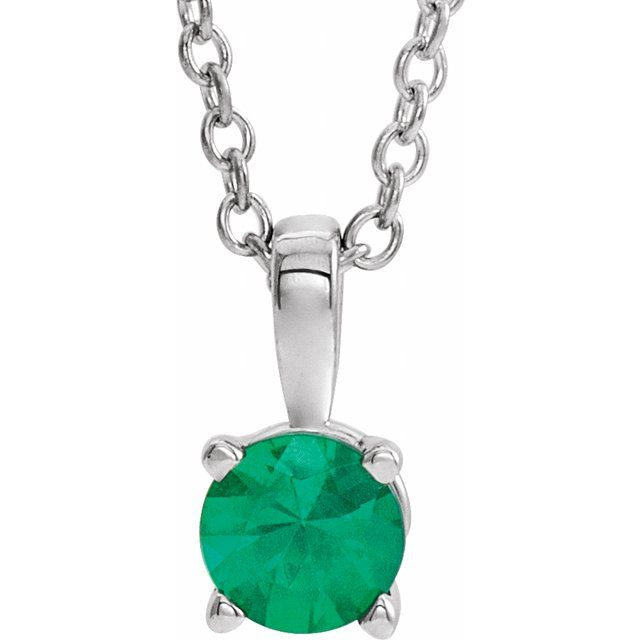 Sterling Silver 6 mm Imitation Emerald 16-18