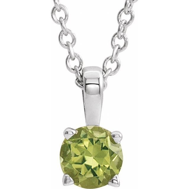 14K White 4 mm Round Peridot Birthstone 16-18