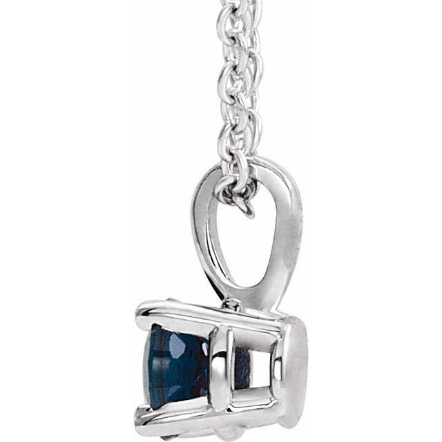 14K White 3 mm Round Natural Blue Sapphire Pendant