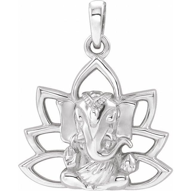 Sterling Silver 19.3x15.7 mm Ganesha Pendant