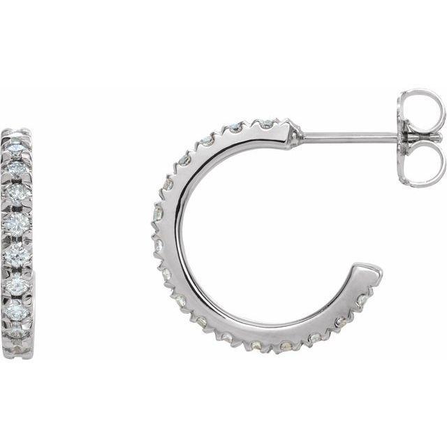 14K White 5/8 CTW Diamond French-Set 15 mm Huggie Earrings