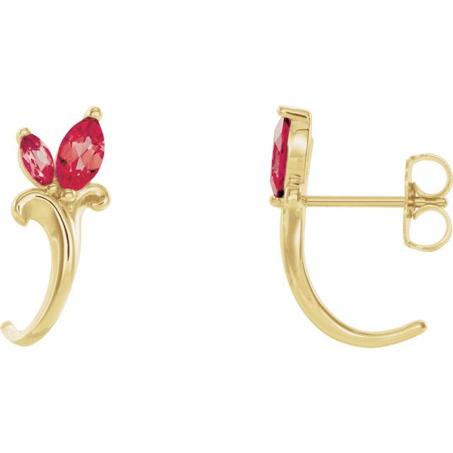 14K Yellow Chatham® Created Ruby Floral-Inspired J-Hoop Earrings