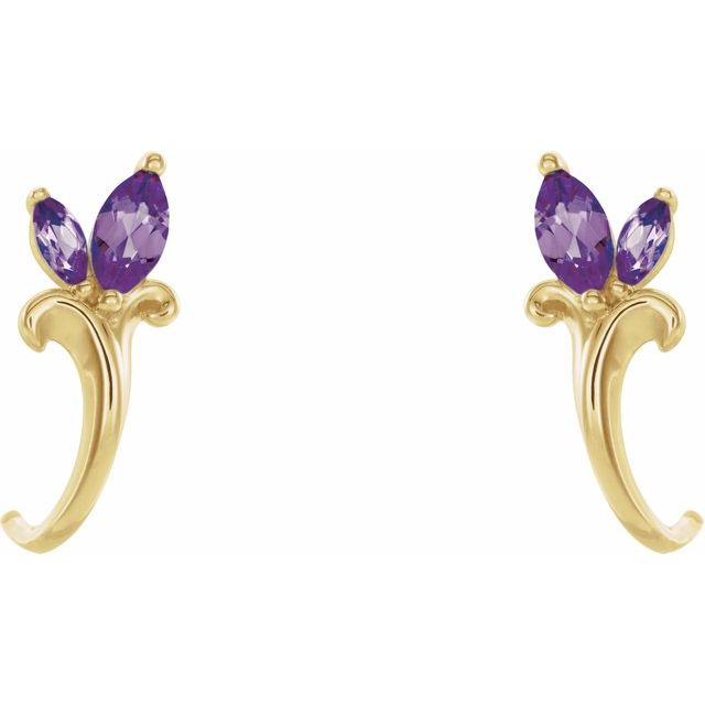 14K Yellow Amethyst Floral-Inspired J-Hoop Earrings