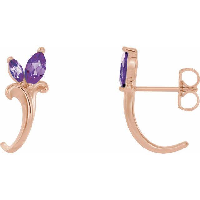 14K Rose Amethyst Floral-Inspired J-Hoop Earrings