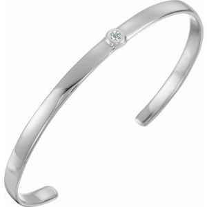 "Sterling Silver 1/10 CT Diamond Cuff 6"" Bracelet"