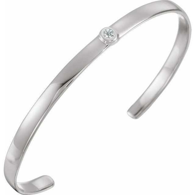 "14K White 1/10 CT Diamond Cuff 6"" Bracelet"