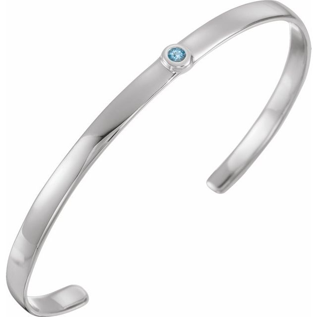 "14K White Aquamarine Cuff 6"" Bracelet"