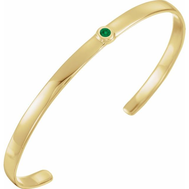 "14K Yellow Emerald Cuff 6"" Bracelet"