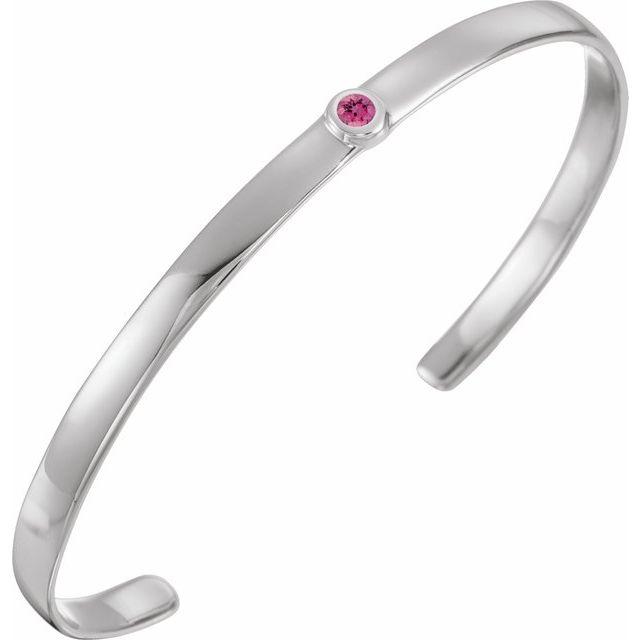 "Sterling Silver Pink Tourmaline Cuff 6"" Bracelet"