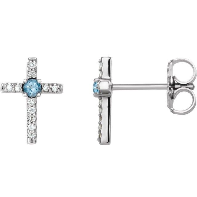14K White Aquamarine & .05 CTW Diamond Cross Earrings