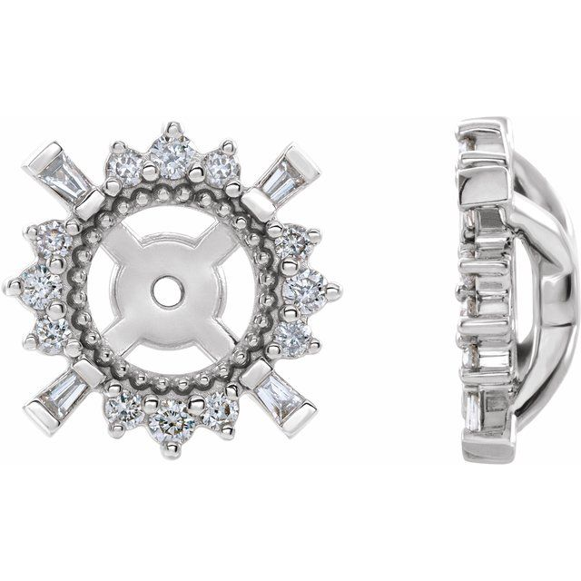 14K White 1/6 CTW Diamond Earrings Jackets with 4.9 mm ID