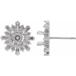 86982 / Unset / Sterling Silver / Each / Polished / Starburst Stud Earring Mounting