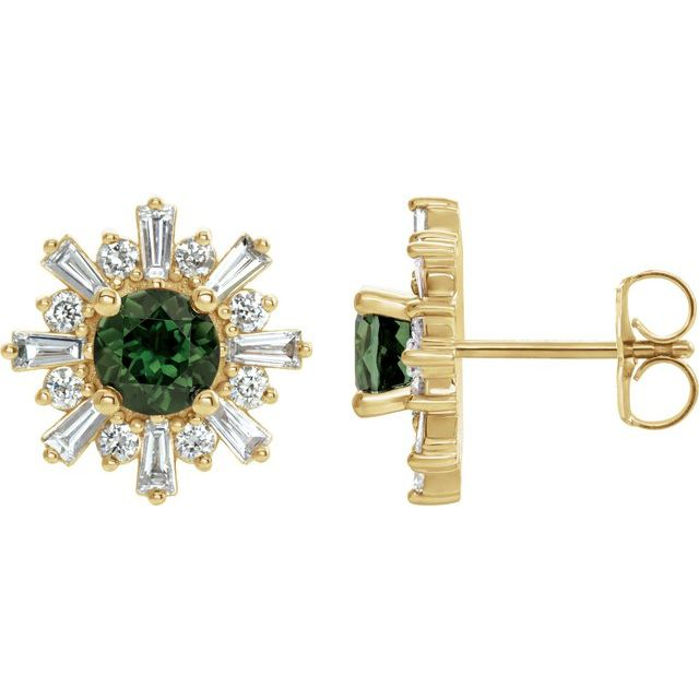 14K Yellow Green Tourmaline & 3/4 CTW Diamond Earrings