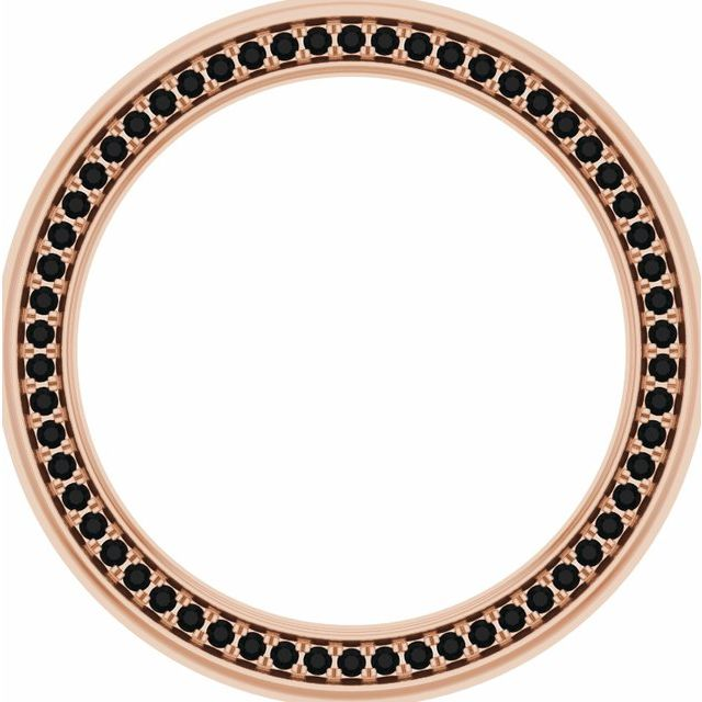 14K Rose 6 mm 7/8 CTW Black Diamond Band Size 12