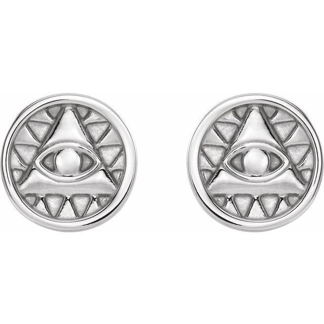 Sterling Silver Eye of Providence Earrings