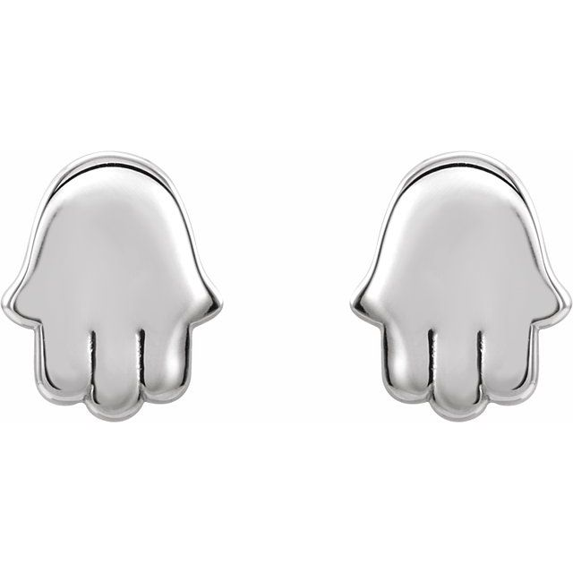 14K White Hamsa Earrings
