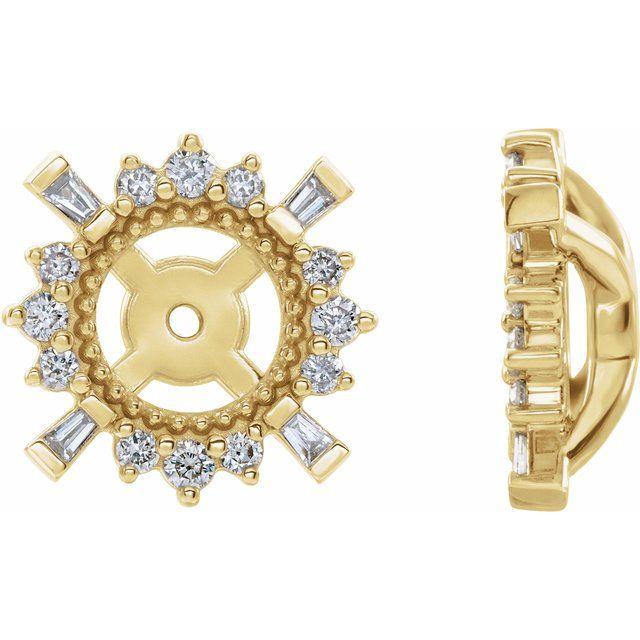 14K Yellow 1/6 CTW Diamond Earrings Jackets with 4.9 mm ID