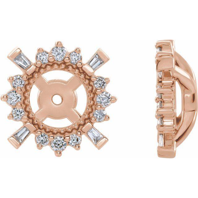 14K Rose 1/6 CTW Diamond Earrings Jackets with 4.9 mm ID