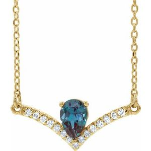 "14K Yellow Lab-Grown Alexandrite & .06 CTW Diamond 18"" Necklace"
