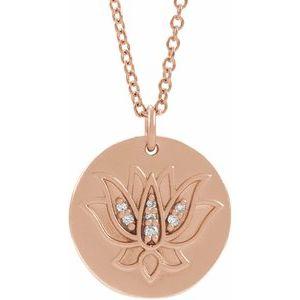 """14K Rose .025 CTW Diamond Lotus 16-18"""" Necklace"""