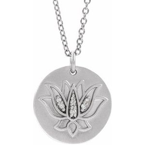 "Sterling Silver .025 CTW Diamond Lotus 16-18"" Necklace"