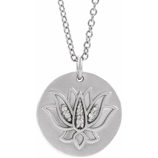"14K White .025 CTW Diamond Lotus 16-18"" Necklace"