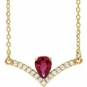 "14K Yellow Ruby & .06 CTW Diamond 16"" Necklace"