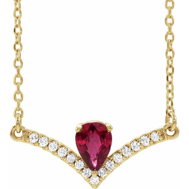 14K Yellow Ruby & .06 CTW Diamond 16