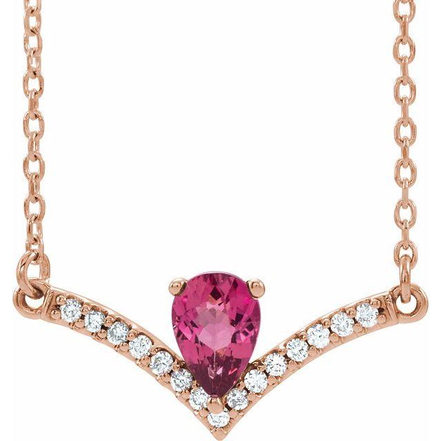14K Rose Pink Tourmaline & .06 CTW Diamond 18